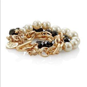 Jewelry - WHBM | Goldtone Glass Pearl Convertible Bracelet